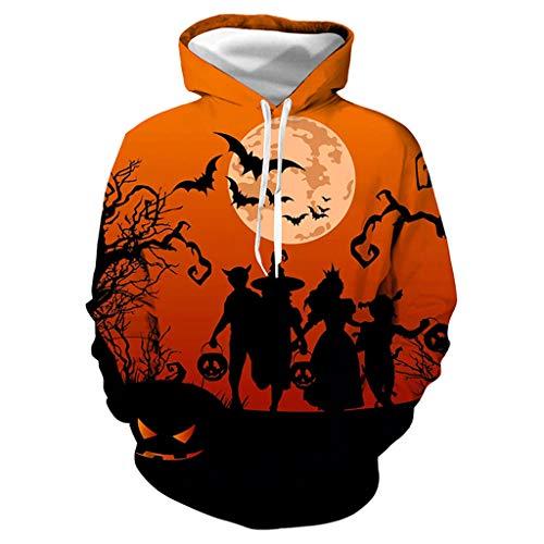 Amcool 2019 Unisex Halloween Damen Herren 27D Druck Gruseligste Skull Print Party Hoodie Kapuzenpullover Bunt Langarm Pullover Sweatshirt Top Bluse mit Kapuzen -