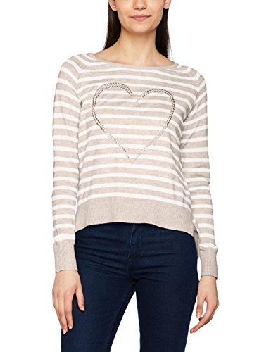 ONLY Damen Onlsophie L/S Pullover Knt Mehrfarbig (Pure Cashmere Detail:W. Melange/Cloud Dancer), 34 (Herstellergröße: XS) (Streifen-pullover Cashmere)