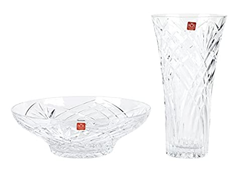 RCR Melodia Crystal Glass Centrepiece Bowl and Vase Set