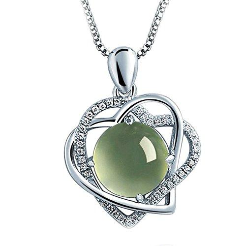 Bishilin S925 Silber Zirkonia Rubin mit Doppel Form Herz Grün Anhänger Halskette Für Damen