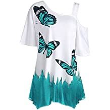 LEvifun Women Short Sleeve T Shirt Lady One Off Shoulder Butterfly Tunic Tops Casual Blouse Shirt Plus Size