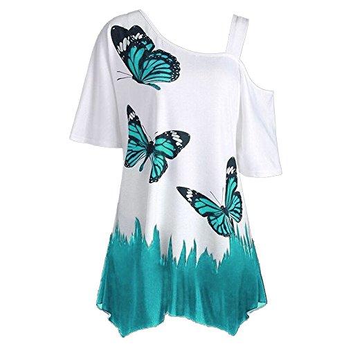 KUDICO Tops T-Shirt Damen Bluse Sommer Schmetterling Druck One Shoulder Kurzarm Lässige Unregelmäßiger Saum Hemd Tunika Oberteile (Blau, 5XL)