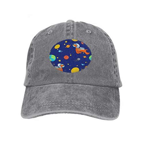 Xunulyn Adjustable Hat Baseball Flat Bottom Cap Dog Astronaut Space Pattern pet Spaceman Puppy Cosmonaut cos Gray