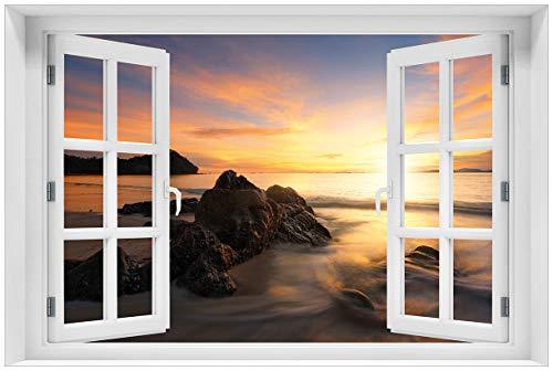 Wallario Acrylglasbild mit Fenster-Illusion: Motiv Sonne über dem Meer mit Felsenlandschaft - 60 x 90 cm mit Fensterrahmen in Premium-Qualität: Brillante Farben, freischwebende Optik