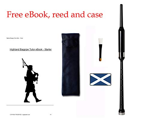 Bagpipe Practice Chanter, eBook, padded chanter case and famous Scottish reed included.
