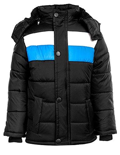 24brands Kinder Jungen Mädchen Jacke Winterjacke Steppjacke warm gefüttert mit Kapuze Streifen - 3101, Größe:128-134;Farbe:Schwarz