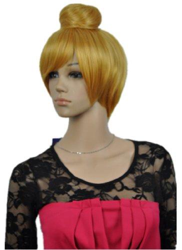 QIYUN.Z Blond Jaune Courte Ligne Droite En Haut Chignon Cosplay Resistant a La Chaleur Perruque Des Femmes Costume Cosplay De Cheveux De Fibre Synthetique Resistant a La Chaleur Pleine Perruque