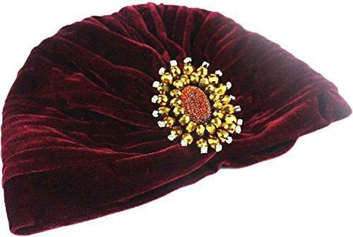 Ababalaya Damen Weich Gold Samt Strass Plissee Turban Chemo Krebs Cap Indien Kappe Nachtmütze,Burgund (Samt Burgund Rot)