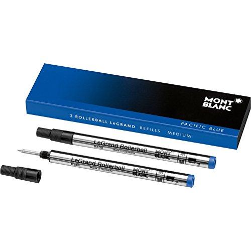 Estos auténticos Montblanc Pen Refills se adapta a todos los Montblanc Meisterstuck Legrand de bolígrafos de punta redonda. Estos dos recargas para bolígrafo son Pacífico azul, tamaño mediano.