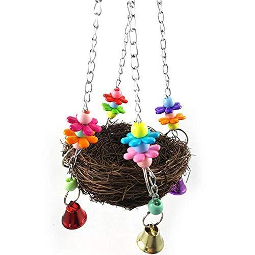 Toruiwa Papageien Swing Vogel Nester Vogelnest geflochte Schaukeln Papagei Stand mit 4 Bunt Glocken für Papageien Vögel -