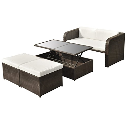 vidaXL 9-tlg. Gartenmöbel-Lounge-Set Sofa-Set Poly Rattan Braun