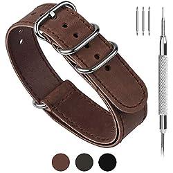 Fullmosa NATO Cuero Correa Reloj, 3 Colores Cuero Zulu Militar 18mm 20mm 22mm 24mm Correa Reloj, 22mm Marron Oscuro