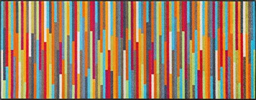 wash+dry Mikado Stripes Fußmatte, Acryl, bunt, 75x190x0.7 cm