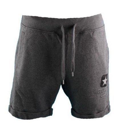 Converse - Converse FL Short Logo Slim Pantaloncini Uomo Cotone Grigi 6SU310F - L, Grigio
