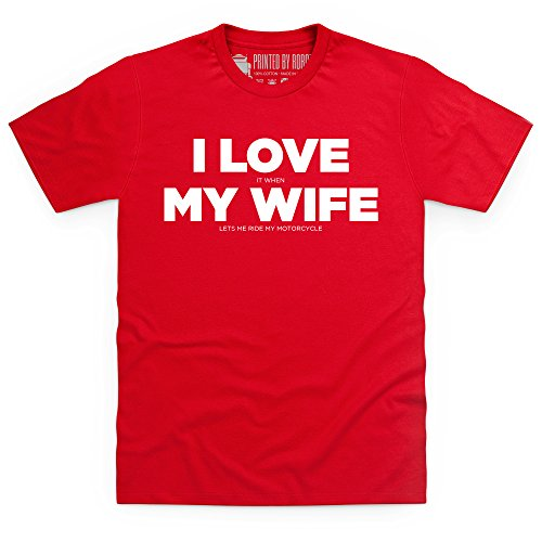 I Love My Motorcycle His T-Shirt, Herren Rot