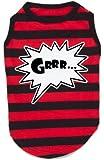 K9 Grrr Stripey Dog T-shirt In Tin, Red/ Black, Xtra Small