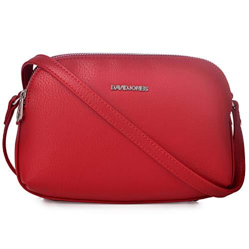 David Jones - Damen Mittelgroße Umhängetasche Viele Taschen Fächer - Reißverschluss Multi Pocket Schultertasche PU Leder - Frauen Einfach Handtasche - Messenger Crossbody Bag Basic Tasche - Rot