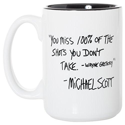 Sie Miss 100%, der den Schuss Sie nicht-Funny Michael Scott im Büro Zitat-444ml Deluxe Doppelseitig Kaffee Tee Tasse 15oz White/Black Inlay (Wayne Scott)