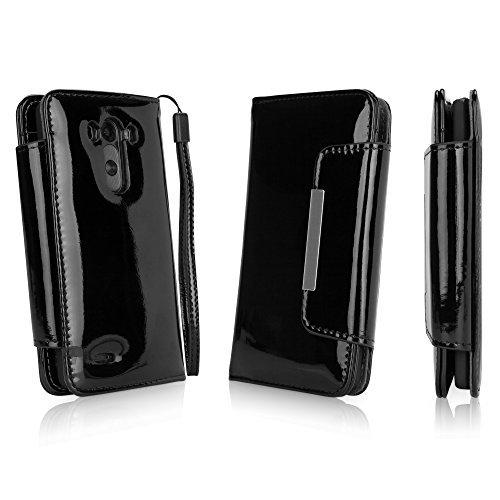 BoxWave Patent Leder Kupplung LG G3Hülle-Schutzhülle aus veganem Leder Design mit Kartenfächern und Hochwertiger Innenseite Design für LG G3-LG G3Covers & Fällen (Jet Schwarz) Patent Leder