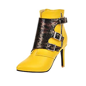 Toasye Damenmode Spitzen Ferse Schuhe wasserdichte Plattform High Heel Stiefel Sexy High Heel Platform Ankle Bootie Lace Up Stiletto Comfortable Boots