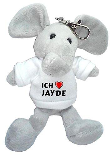 Jayde Bekleidung (Plüsch Elefant Schlüsselhalter mit T-shirt mit Aufschrift Ich liebe Jayde (Vorname/Zuname/Spitzname))
