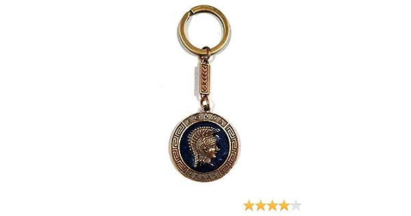 Iconsgr Schlüsselanhänger Antike Münze Athena Schild Göttin Athena Schlüsselanhänger Blau Bekleidung