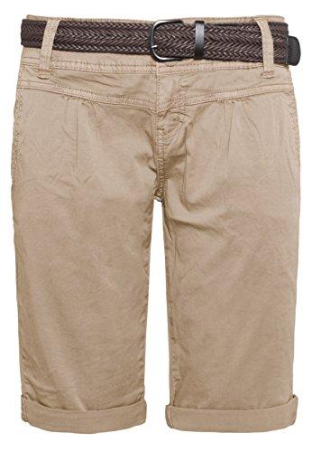 Capri Brown Bekleidung (Fresh Made Sommer-Hose Bermuda-Shorts für Frauen | kurze Chino-Hose mit Flecht-Gürtel | Basic Shorts aus Baum-Wolle light-brown M)