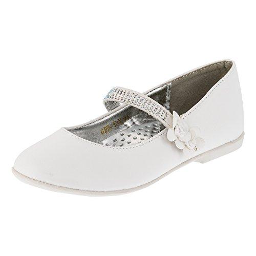 Festliche Mädchen Ballerinas Schuhe mit Klettverschluss in Vielen Farben M209ws Weiß 25