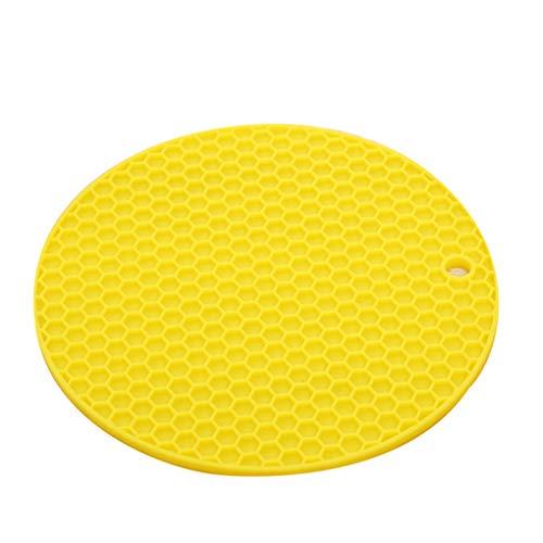 Floridivy Silikon Honeycomb Platzdeckchen Tischhitzebeständige Matte Cup Wasserschale Polster Anti-Rutsch-Coaster Kissen runde Auflage Gelb -