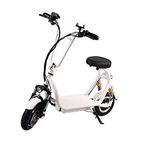 H&BB Elektrofahrräder,Tragbar Elektroauto Lithium-Batterie Klapp Fahrrad Geschwindigkeit Bis Zu 25Km / H Geschwindigkeitsanzeige Intelligent Elektro Scooter,White,Battery~10Ah