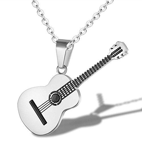 Yazilind Mode schmuck Frauen männer Titan Stahl Halskette Kreative Klassische Musik Gitarre anhänger Charme Kette für Party (Silber)