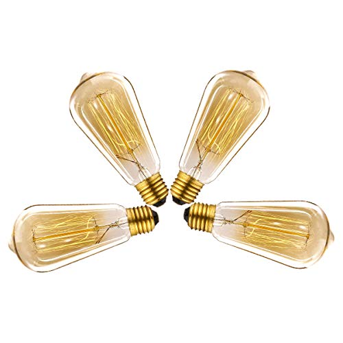 LegendTech Retro Edison Bombilla, LED Bombilla de Edison Bombilla E27 Vintage Edison Lámparas de Vidrio de Tungsteno para Lluminación y Decoración Casa Bar Café Tienda Librería Amarillo Cálido - 4 PCS