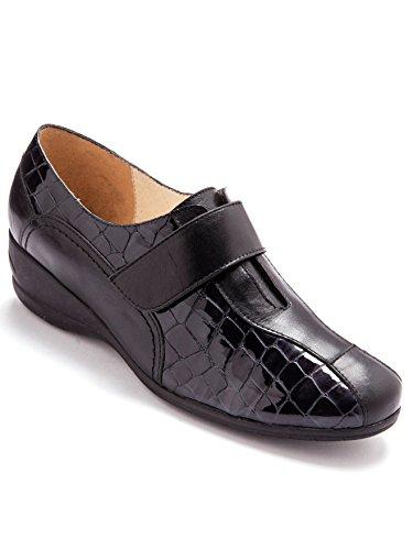 Pediconfort - Chaussures Derbies à Patte Auto-agrippante Largeur Confort - Noir - 42