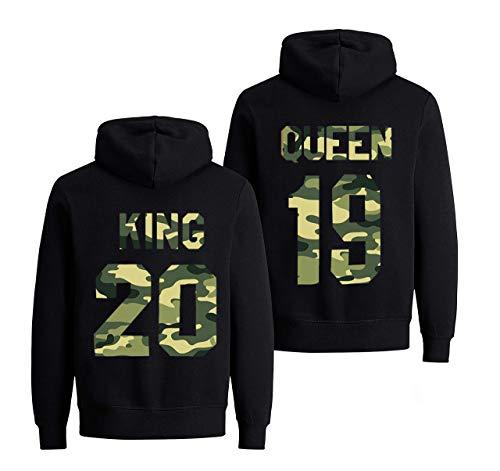 Hoodie Set King Queen Pullover für Zwei Kapuzenpullover Couple Mr Mrs Kapuzenpulli 2019 1 Stücke-Queen-XXL (Damen), Damen  Schwarz / Camouflage, XXL ()