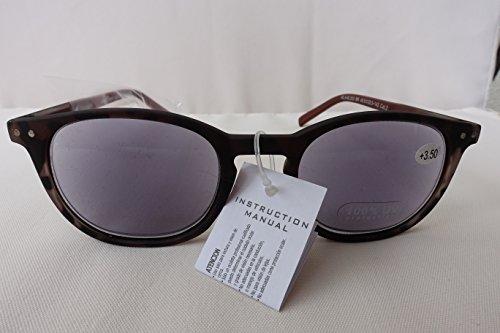 GKA MaxView 2in1 Sonnenbrille mit Sehstärke im weichen Lederetui Sonnenlesebrille mit Federbügel Lesebrille 100% UV Protection Damen und Herren (braun/schwarz, 3,5)