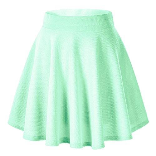 Urban goco donna moda svasata mini gonna da pattinatrice versatile elastica solida colore gonna verde menta xl