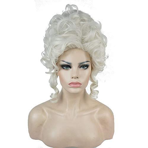 VIWIGS Klassisch 18th Jahrhundert Perücken zum Frau Damen Erwachsene Kurz Weiß Curly Halloween Cosplay Zubehör Synthetik Voll Haar
