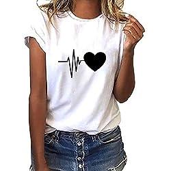 iYmitz Damen Mode Lose Oansatz Spitze Rundausschnitt Art- und Weise Frauen Kurzarm Herz T-Shirts Drucken Tops Bluse Shirts