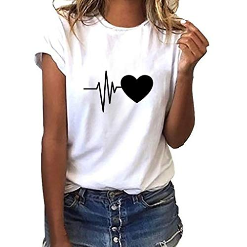 Linkay T Shirt Damen Kurze Ärmel Bluse O-Neck Tops Herz Drucken Oberteile Mode 2019 (EIN, Medium)