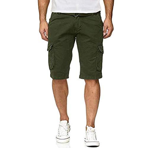 Slinky Herren Shorts (Amoyl Einfarbige Herren-Shorts mit Mehreren Taschen, Herren Knopf Einfarbig Baumwolle Mehrfach Overalls Shorts Cargo Short Pant)
