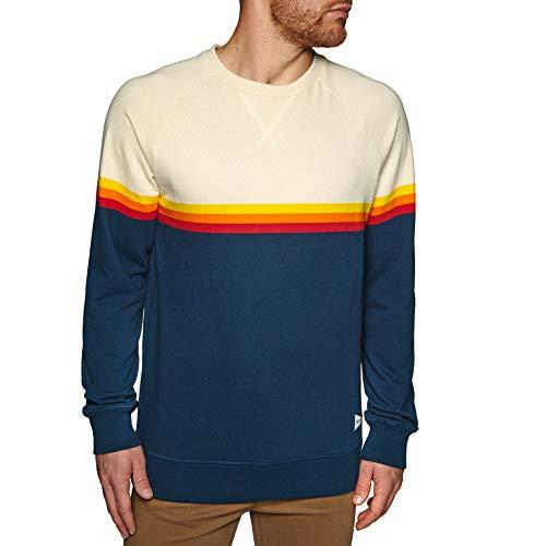 RIP CURL Herren Rainbow Stripe Crewneck Fleece Sweatshirt, Navy, XL Crewneck Fleece Pullover Sweatshirts