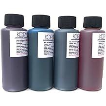 4 X Botellas de tinta comestible de 100ml para usar con impresoras Canon. Bramacartuchos,