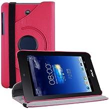 kwmobile Funda para Asus Memo Pad HD 7 - Case de 360 grados de cuero sintético para tablet - Smart Cover completo y plegable para tableta en rosa fucsia