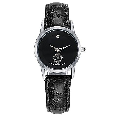 Hongboom Noir véritable de bande de cuir montre bracelet étanche à 30m pour femme décontracté Business Quartz Analogique Montre-bracelet