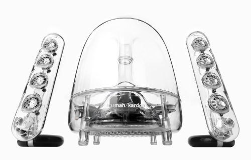 Harman/Kardon Soundsticks III - Sistemas de altavoces de sobremesa (LED con 2 altavoces satélite, subwoofer, 3.5 mm), color transparente