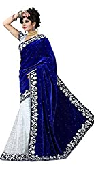 Buyonn Women's Velvet & Net Saree (OFS2020-SARI_Blue_Free Size)