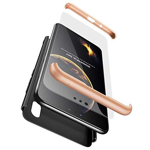 xinyunew Huawei P20 Pro Hülle,Panzerglas Schutzfolie für Huawei P20 Pro. 3 in 1 handyhülle Case 360 Grad Ganzkörper Schützend Komplett Schutzhülle Tasche Etui für Huawei P20 Pro Gold Schwarz