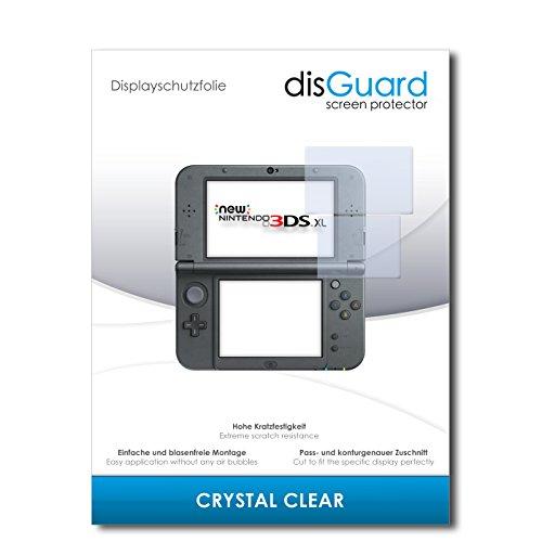 disGuard® Displayschutzfolie [Crystal Clear] kompatibel mit New Nintendo 3DS XL [2 Stück] Kristallklar, Transparent, Unsichtbar, Extrem Kratzfest, Anti-Fingerabdruck - Panzerglas Folie, Schutzfolie