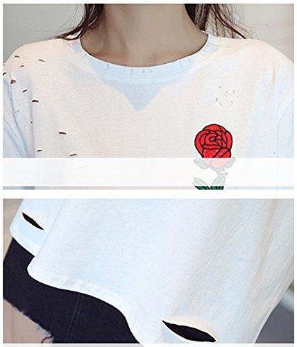 Minetom Manica Corta Donna T Shirts Maglietta Tinta Unita Maniche Corte Camicette Tee Estate Blusa O-Collo Girocollo Rose Ricamo Fori Strappati Bianco