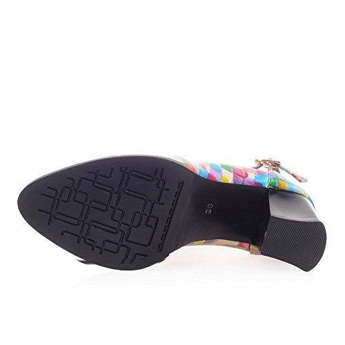 VogueZone009 Femme Pu Cuir à Talon Haut Pointu Boucle Chaussures Légeres Multicolore